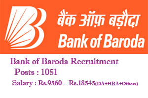 Bank of Baroda Notification for 1051 Posts