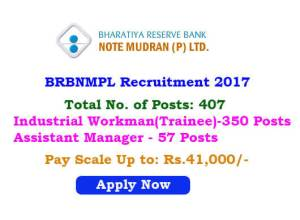 BRBNML Recruitment 2017