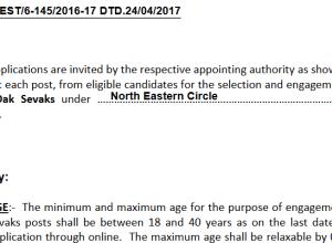 North Eastern Postal Circle Recruitment 2017