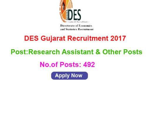 DES Gujarat Recruitment 2017