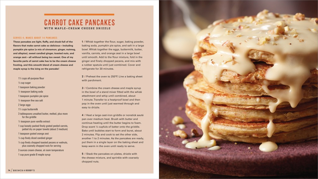 Carrot Cake Pancakes   About A Mom Brunch   Bobby s Carrot Cake Pancakes with Maple Cream Cheese Drizzle