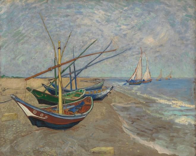 Vissersboten op het strand van Les Saintes-Maries-de-la-Mer (1888)