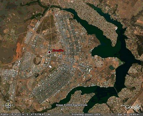 Vista satelital de Brasilia