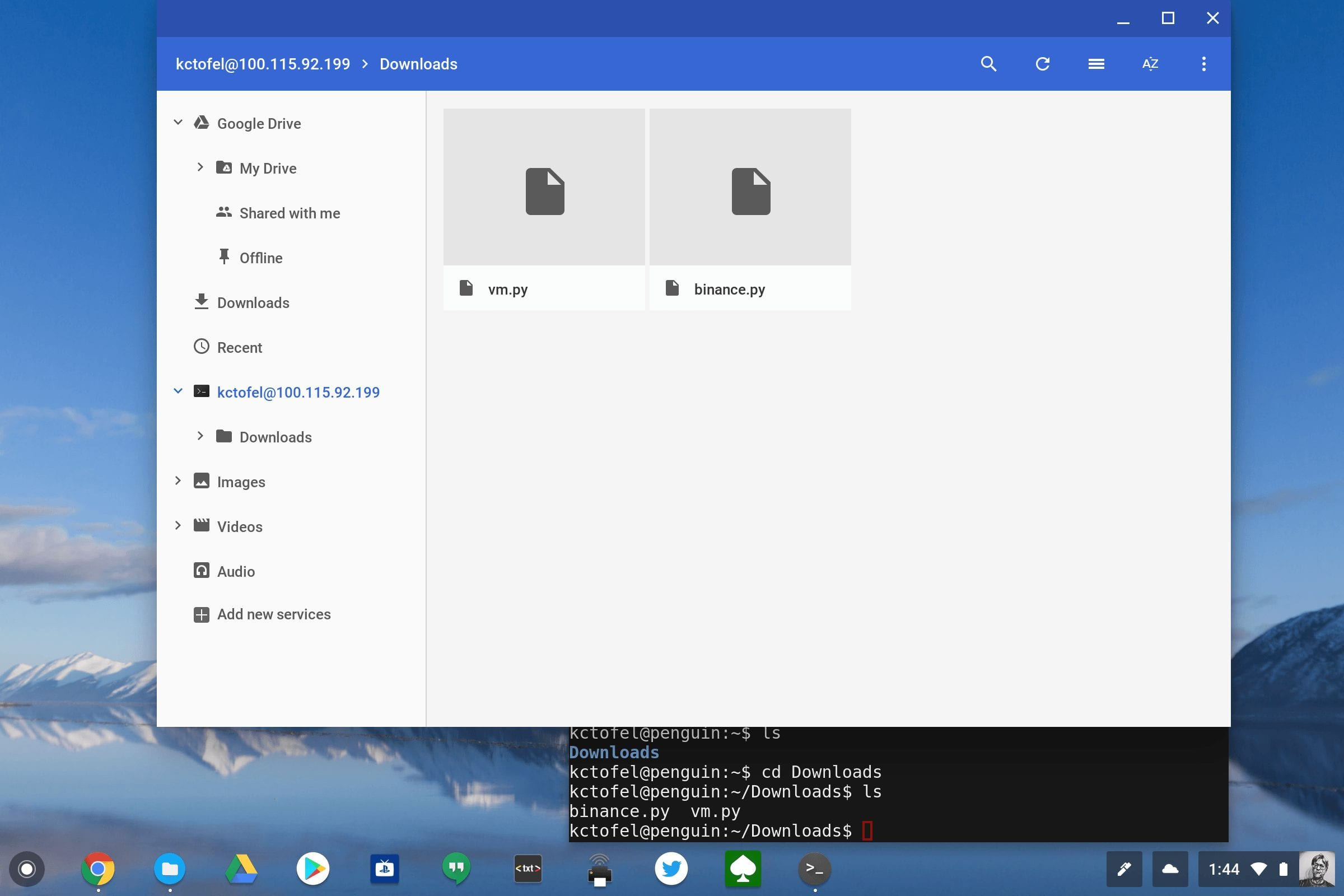 How to mount Linux container files in the Chrome OS Files app for