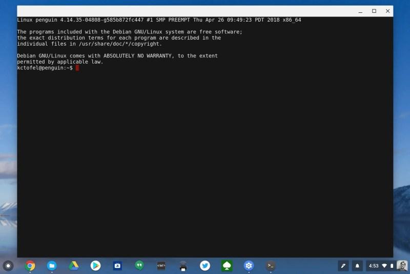 Linux apps terminal on Chrome OS
