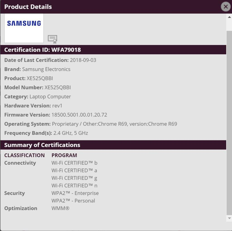 New Samsung Chromebook certified by the Wi-Fi Alliance  New