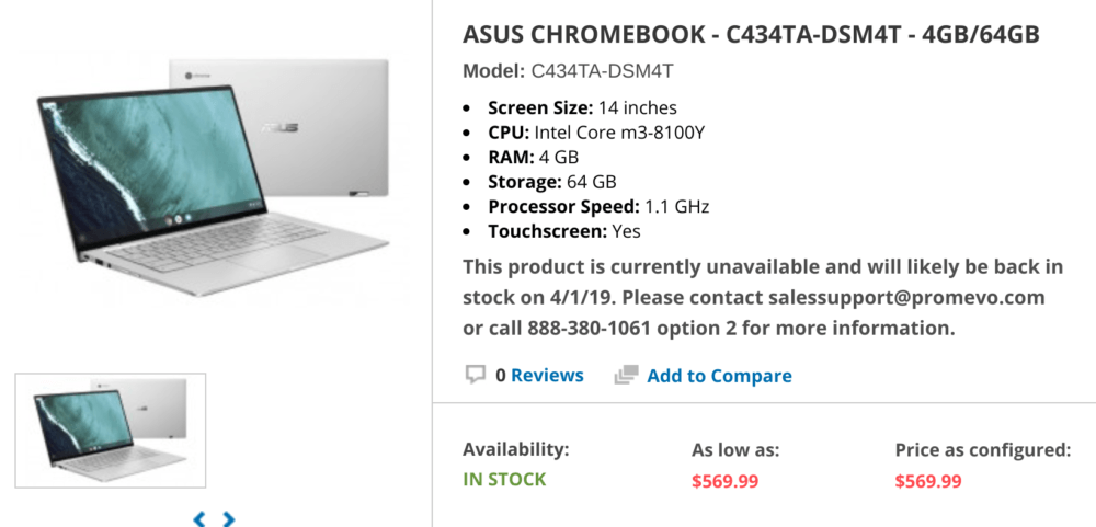 Asus Chromebook Flip C434 appears on Promevo: $569 99 for