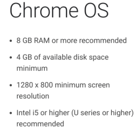 Chrome OS recommendations for Android Studio