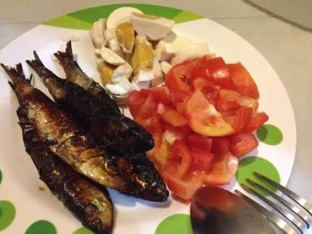 Dried Fish + Salted Eggs + Tomatoes