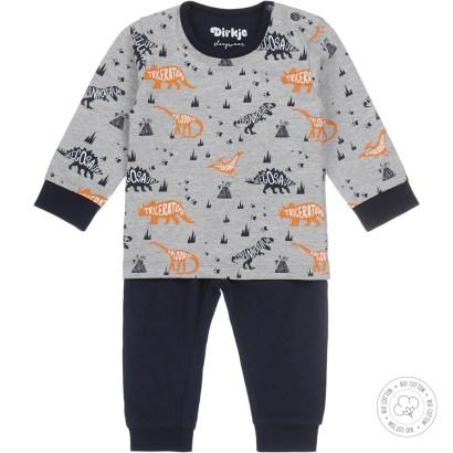Dirkje pyjama set dino grey melee/navy