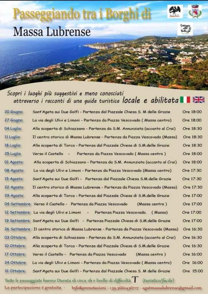 Eventi estate 2021 Massa Lubrense - Passeggiando tra i Borghi escursioni