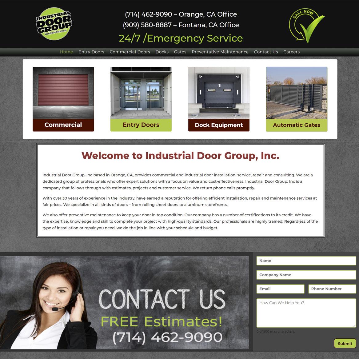 Industrial door Group web page