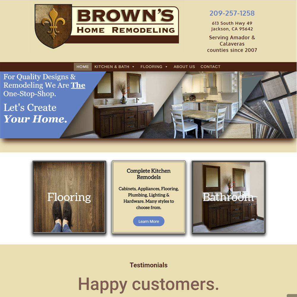 Brown's Home Remodeling website screenshot