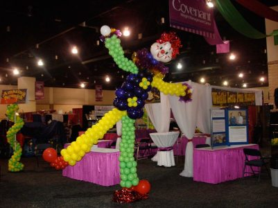 Dancing clown attracted people to Covenant's booth