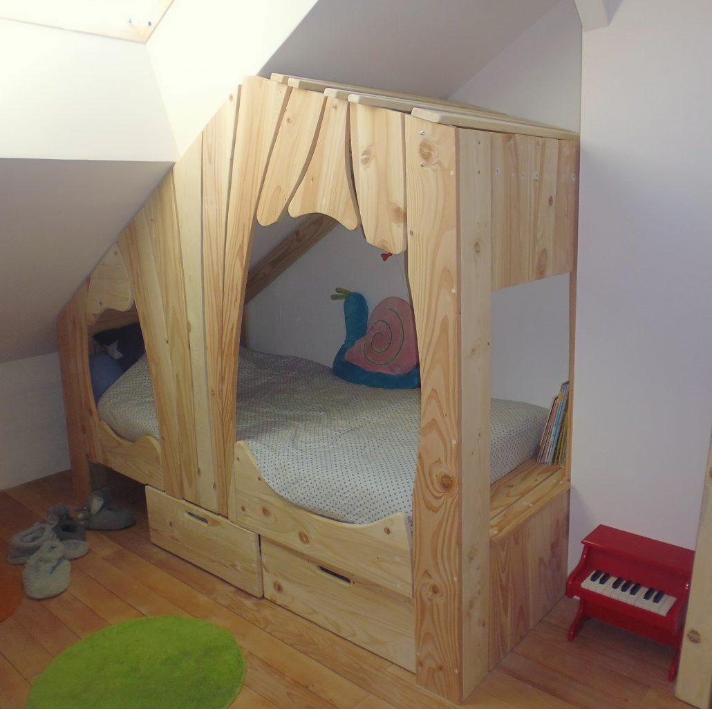 lit cabane bois massif