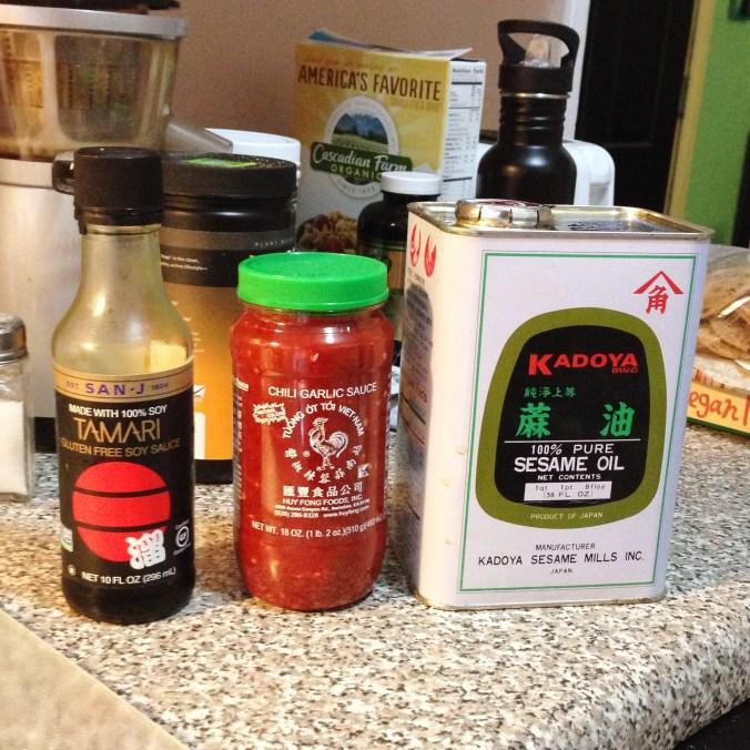 tamari, chili garlic paste, sesame oil