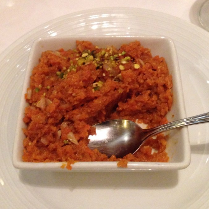 vegan indian spiced carrot dessert on royal caribbean cruise