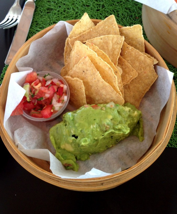 vegan chips and guacamole