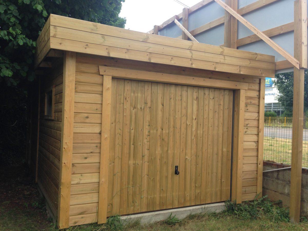 Garage Ossature Bois Toit Plat Bac Acier 3 M X 6 M Cerisier