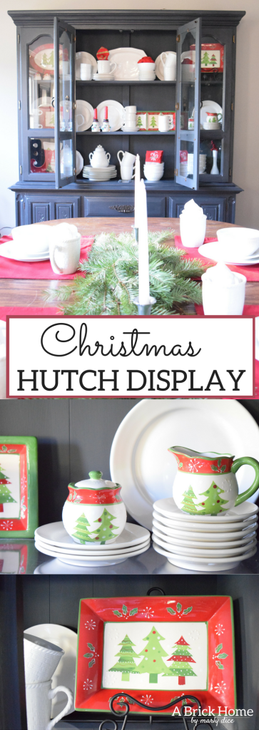 A Brick Home: Christmas hutch display, christmas hutch decor, christmas hutch decorating ideas, Christmas china cabinet, Christmas china cabinet decor, Christmas hutch ideas