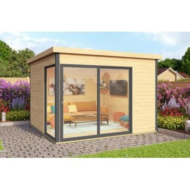 abri de jardin domeo 1 olg 44mm 300x300cm 9 0 m avec baie vitree double vitrage et plancher