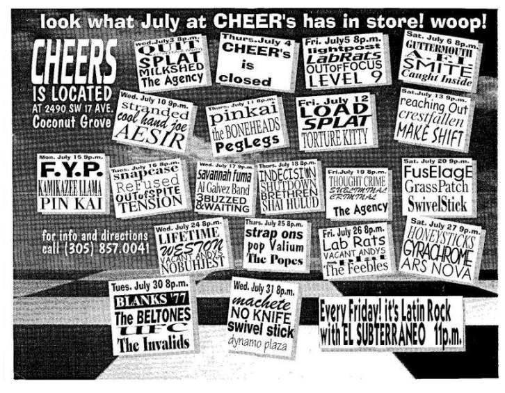Flyer of Crestfallen live at Cheer's in Coconut Grove, Florida with Reaching Out and Makeshift