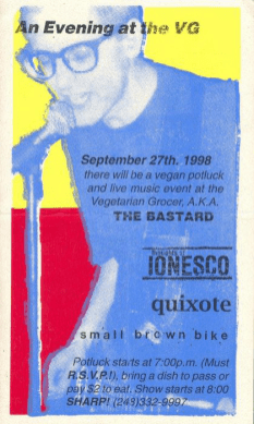 "Thoughts of Ionesco, Quixote and Small Brown Bike performing at ""The Bastard"" on September 27th 1998"