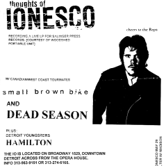 May 9th 1999 at The IO Cafe (Detroit, MI) Dead Season with Small Brown Bike, Thoughts of Ionesco and Hamilton. Photo courtesy of Dan Jaquint