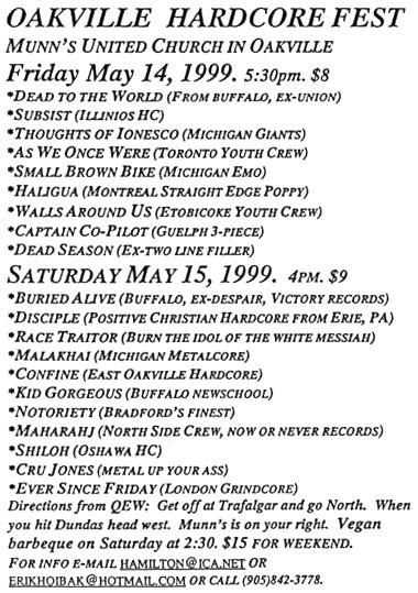 May 14-15 1999 Southern Ontario Hardcore Fest/Oakville Hardcore Fest, Munn's United Church (Oakville, ON). Photo courtesy of Erik Hoibak