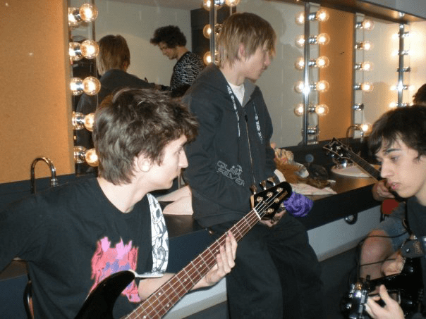 Pierre-Charles Payer, Nicolas-Patrick Therien, Laurent Shaker and Maxance Vassart (mirror) in the dressing room of the Gerald-Godin talent show. February 8th 2008. Photo courtesy of Stephany Lepage