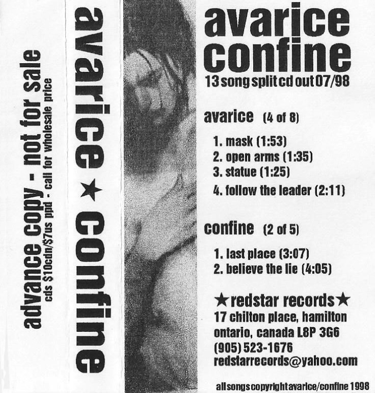 RSR003 - Avarice & Confine split advance copy tape sampler. Photo courtesy of Jun Matsumura