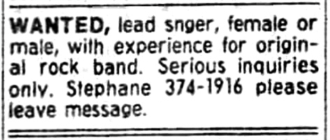 Boize's ad looking for a vocalist. Placed in Montreal's The Gazette newspaper from May 21st to the 27th of 1989.