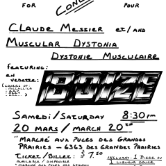 Flyer made by the band Boize's show at Marché aux Puces des Grandes Prairies, Saint-Leonard, Canada on March 20th 1993.