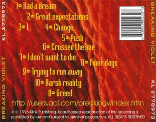 """Breaking Violet's """"Digging Up Old Bones"""" album. CD Back cover."""