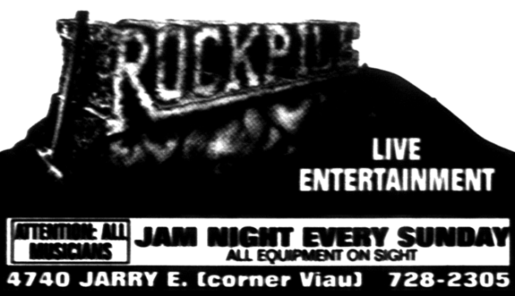 Rockpile ad for the Sunday night jams in Saint-Leonard.