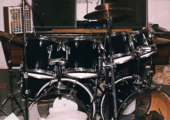 Unmarked's rehearsal space, Bob's basement, circa September 1987. Drum kit.