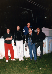 Unmarked posing in Bob's backyard in September 1987. L to R: Steph Fania, Bob Kourie, Steve Bolduc (top), Joe Tufenkdjian, Italo Falcone.