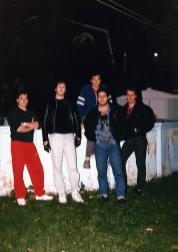 Unmarked posing in Bob's backyard in September 1987. L to R: Steph Fania, Bob Kourie, Steve Bolduc (top), Joe Tufenkdjian, Italo Falcone.