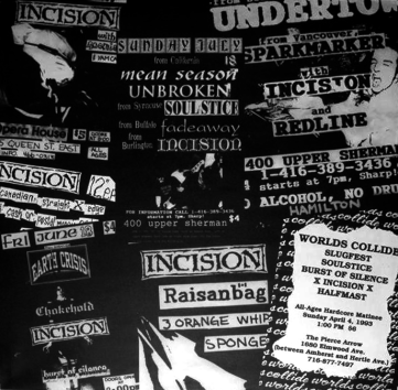 Grade / Incision split insert, featuring a collage of Incision flyers
