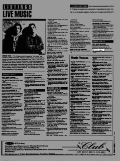 Listing from the Montreal Mirror magazine for Boize's show at Le Flirt, Longueuil, Canada on June 14th 1992.