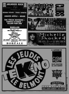 Flyer from the Montreal Mirror magazine for Boize's show at the Jailhouse Rock Cafe, Montreal, Canada with Adam's Apples on July 24th 1992.