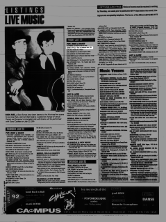 Listing from the Montreal Mirror magazine for Boize's show at the Jailhouse Rock Cafe, Montreal, Canada with Adam's Apples on July 24th 1992.