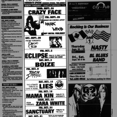 Flyer from the Montreal Mirror magazine for Boize's show at the Backstreet, Montreal, Canada on October 3rd 1992.