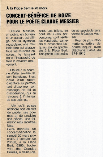 Clipping taken from the Saint-Leonard newspaper Le Progres, mentioning Boize's March 20th 1993 show at Place Bert.
