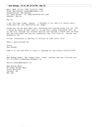 Raw Energy Records email from Chris Murray to Al Biddle, offering a release on the label.