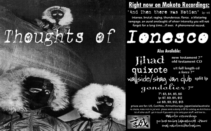 "Thoughts of Ionesco, ad for ""And Then There Was Motion"", Makoto Recordings, 1998"