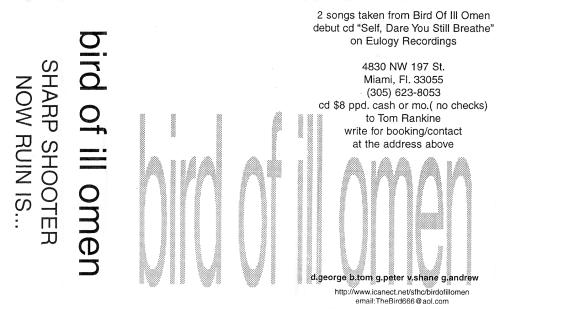 "Bird of Ill Omen ""Self, Dare You Still Breathe?"" tour tape, June 1997. Askone Productions"