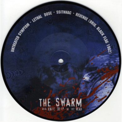 """The Swarm aka Knee Deep in the Dead / ForceFedGlass split 7"""". Spiritfall Records / The Human Electric Project, March 2000."""
