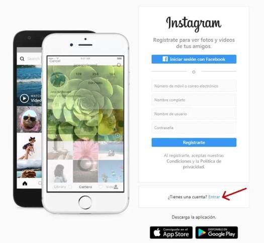 Iniciar sesión Instagram