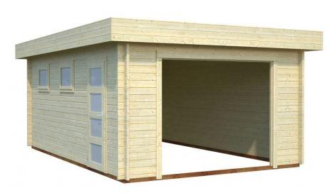 Garage En Bois Toit Plat 19 M Kit Sans Portes